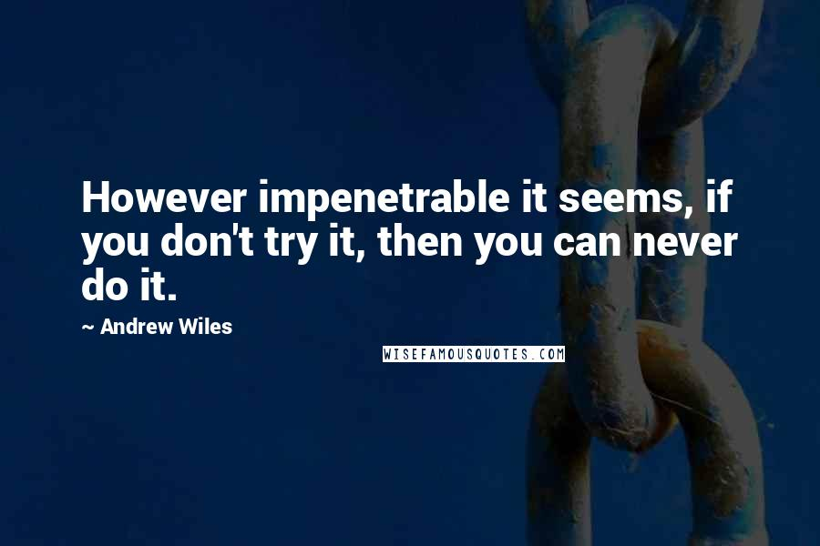 Andrew Wiles quotes: However impenetrable it seems, if you don't try it, then you can never do it.