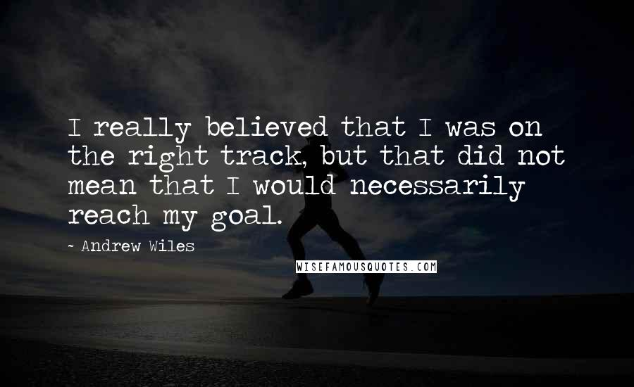 Andrew Wiles quotes: I really believed that I was on the right track, but that did not mean that I would necessarily reach my goal.