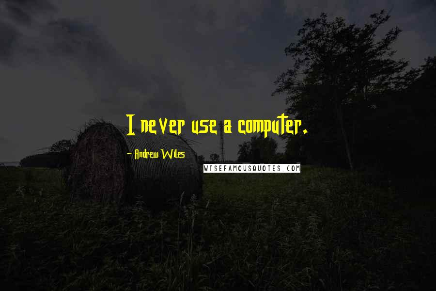 Andrew Wiles quotes: I never use a computer.