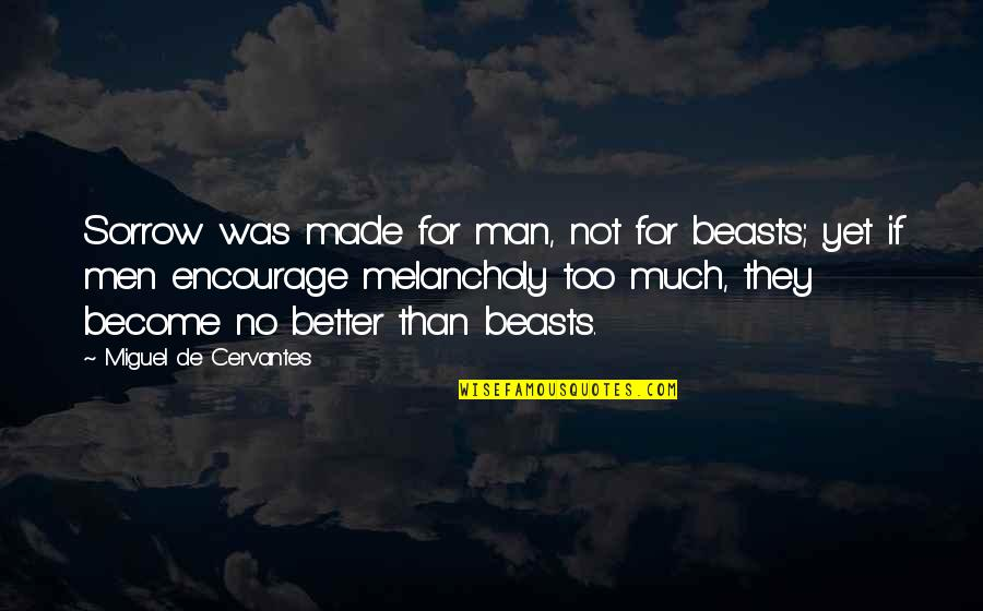 Andtwilight Quotes By Miguel De Cervantes: Sorrow was made for man, not for beasts;