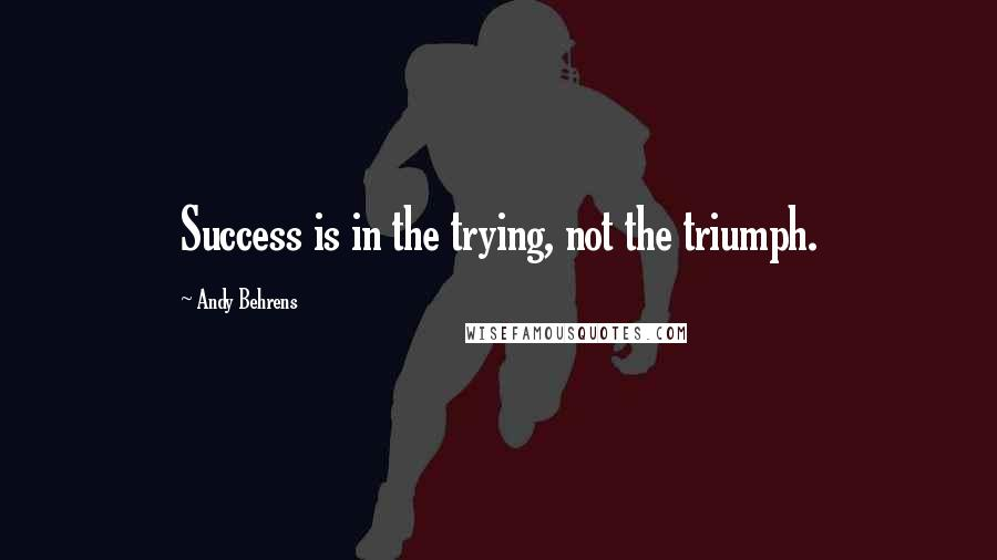 Andy Behrens quotes: Success is in the trying, not the triumph.