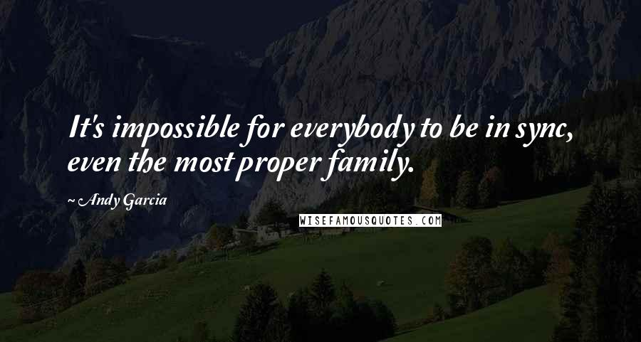 Andy Garcia quotes: It's impossible for everybody to be in sync, even the most proper family.