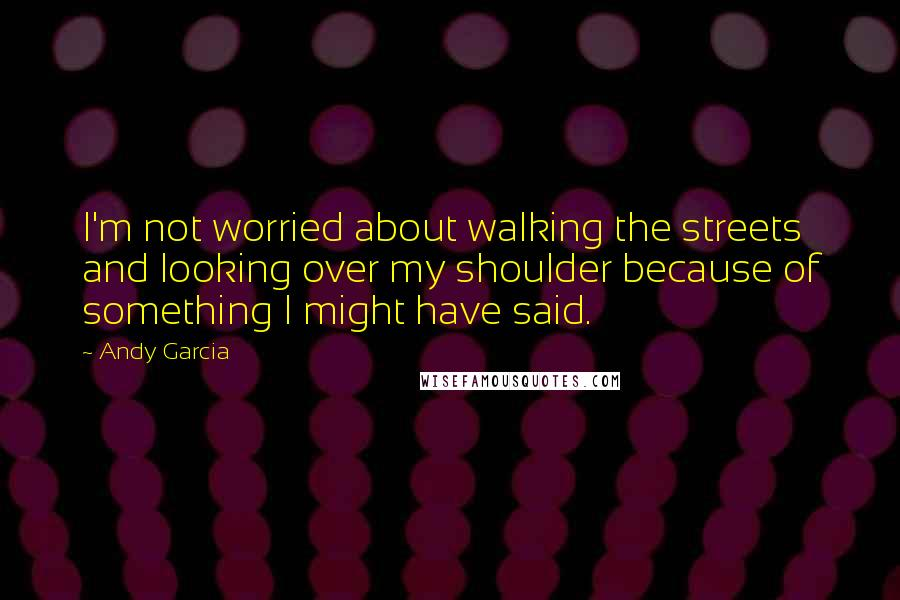 Andy Garcia quotes: I'm not worried about walking the streets and looking over my shoulder because of something I might have said.