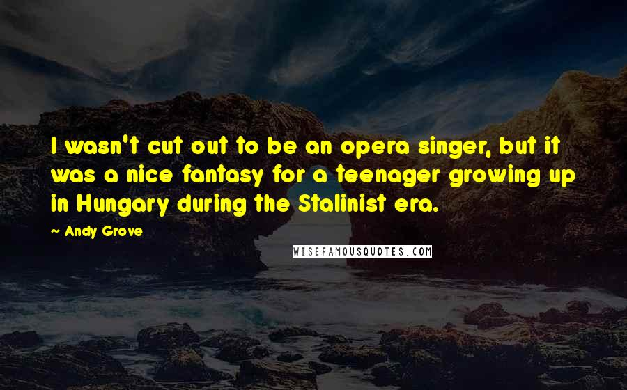 Andy Grove quotes: I wasn't cut out to be an opera singer, but it was a nice fantasy for a teenager growing up in Hungary during the Stalinist era.