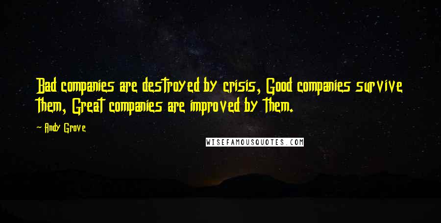 Andy Grove quotes: Bad companies are destroyed by crisis, Good companies survive them, Great companies are improved by them.