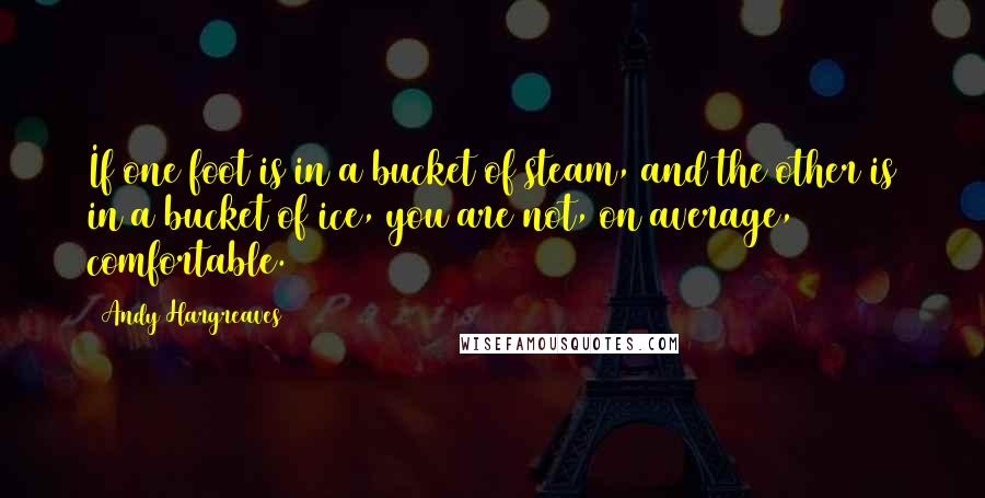 Andy Hargreaves quotes: If one foot is in a bucket of steam, and the other is in a bucket of ice, you are not, on average, comfortable.