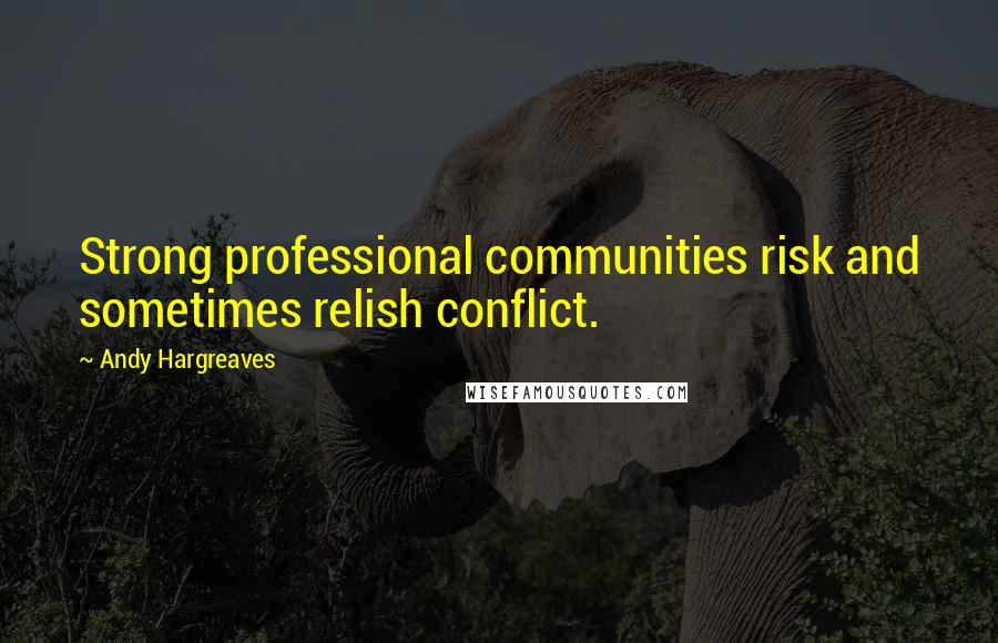 Andy Hargreaves quotes: Strong professional communities risk and sometimes relish conflict.