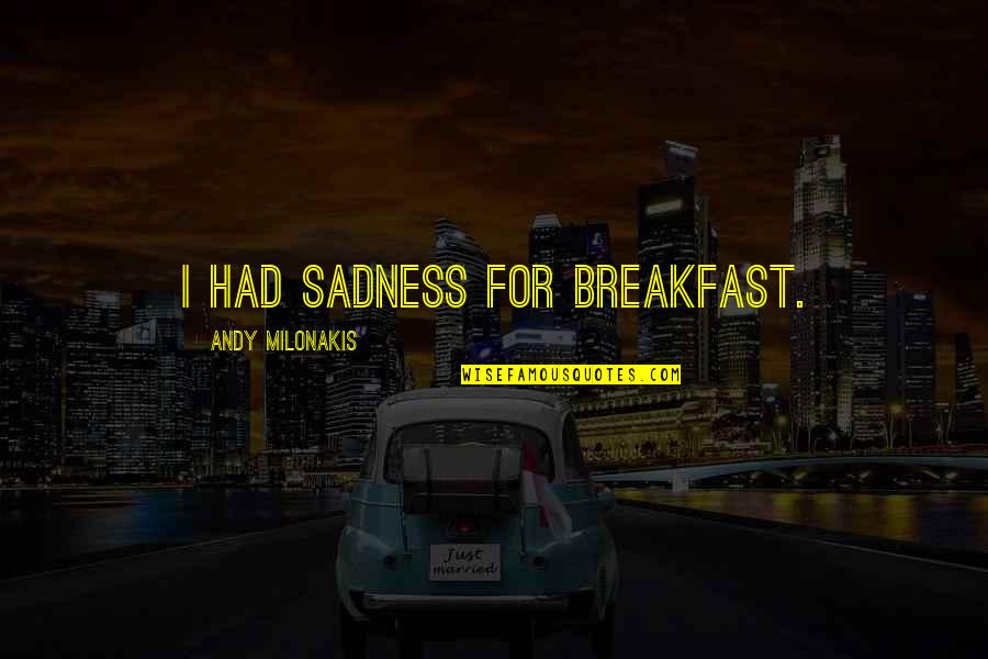 Andy Milonakis Quotes By Andy Milonakis: I had sadness for breakfast.