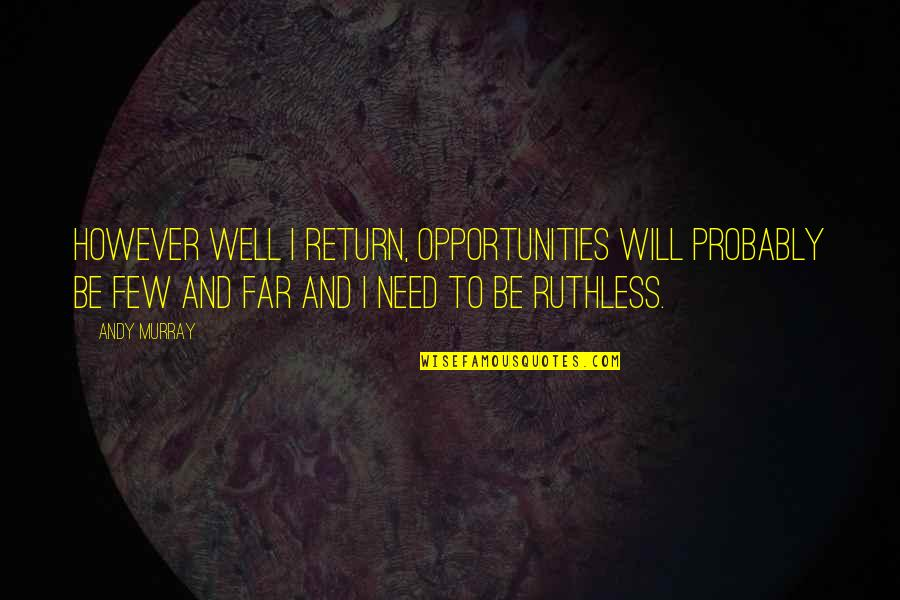 Andy Murray Quotes By Andy Murray: However well I return, opportunities will probably be