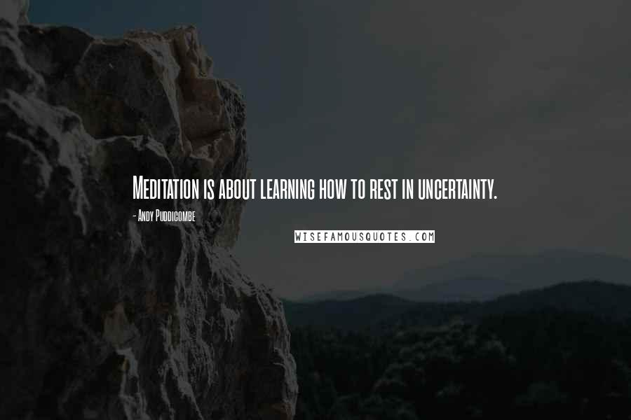 Andy Puddicombe quotes: Meditation is about learning how to rest in uncertainty.