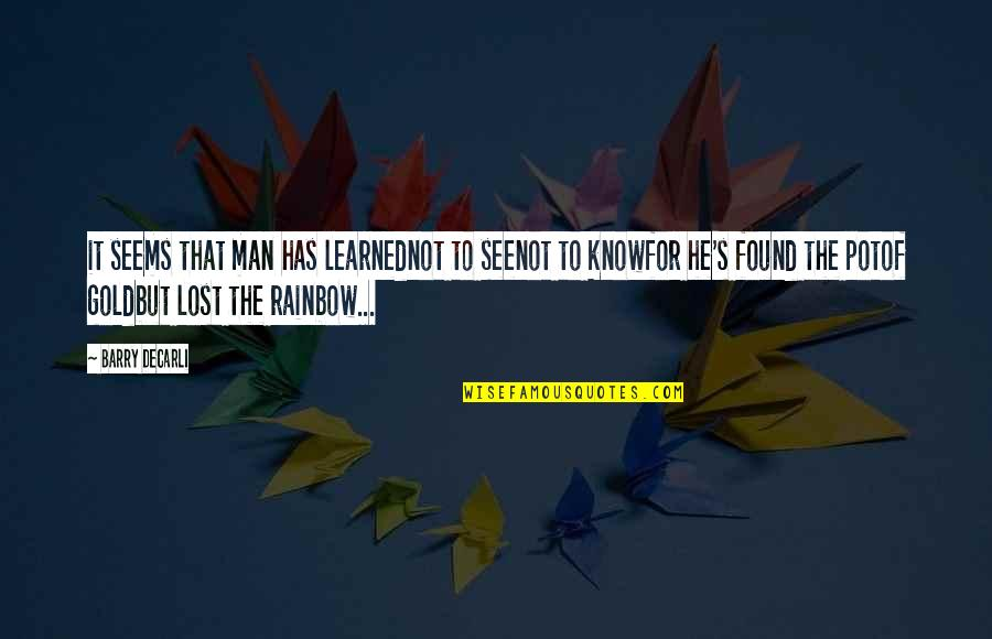 Ang Pag Ibig Ko Sayo Quotes By Barry DeCarli: it seems that man has learnednot to seenot