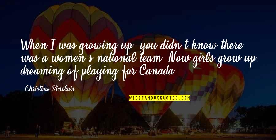 Ang Pag Ibig Ko Sayo Quotes By Christine Sinclair: When I was growing up, you didn't know