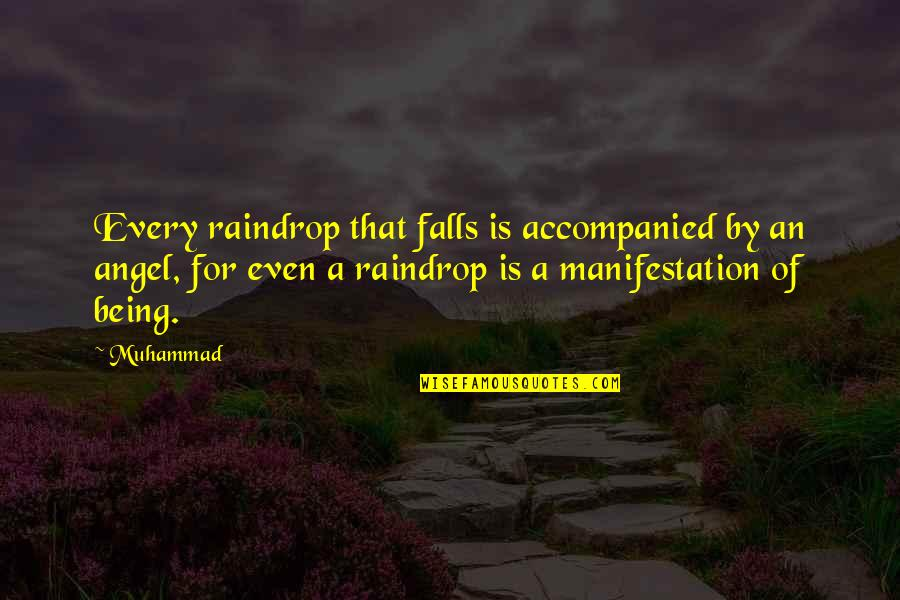 Angel Falls Quotes By Muhammad: Every raindrop that falls is accompanied by an