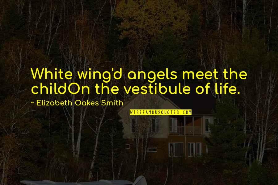 Angel In White Quotes By Elizabeth Oakes Smith: White wing'd angels meet the childOn the vestibule