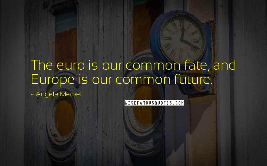 Angela Merkel quotes: The euro is our common fate, and Europe is our common future.