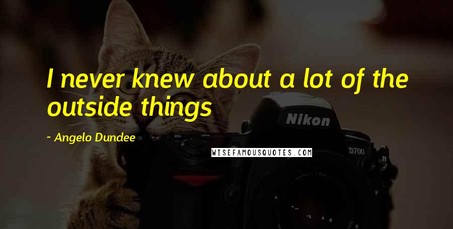 Angelo Dundee quotes: I never knew about a lot of the outside things