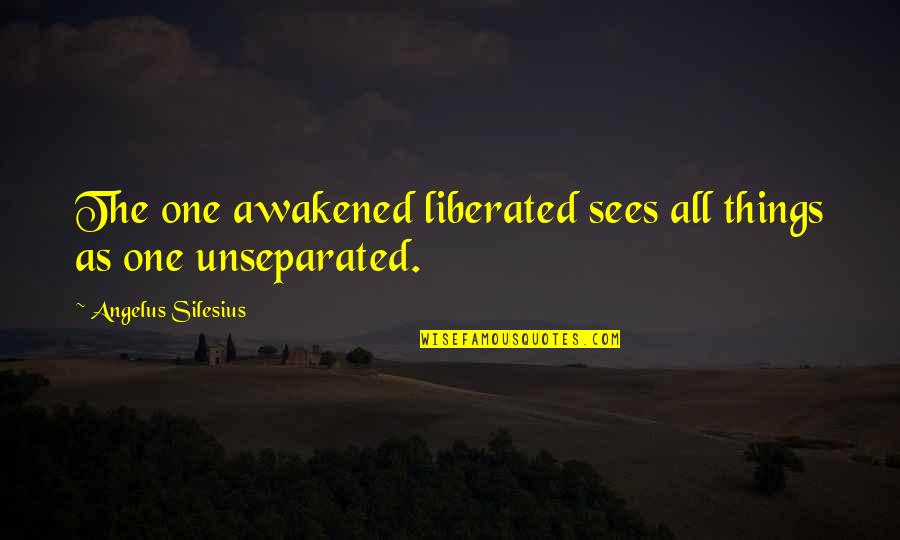 Angelus Quotes By Angelus Silesius: The one awakened liberated sees all things as