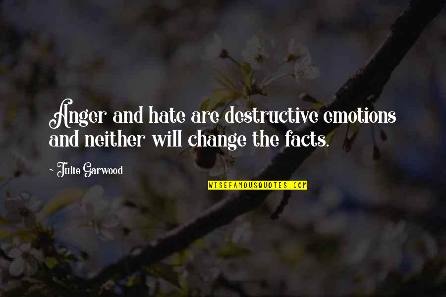 Anger And Change Quotes By Julie Garwood: Anger and hate are destructive emotions and neither