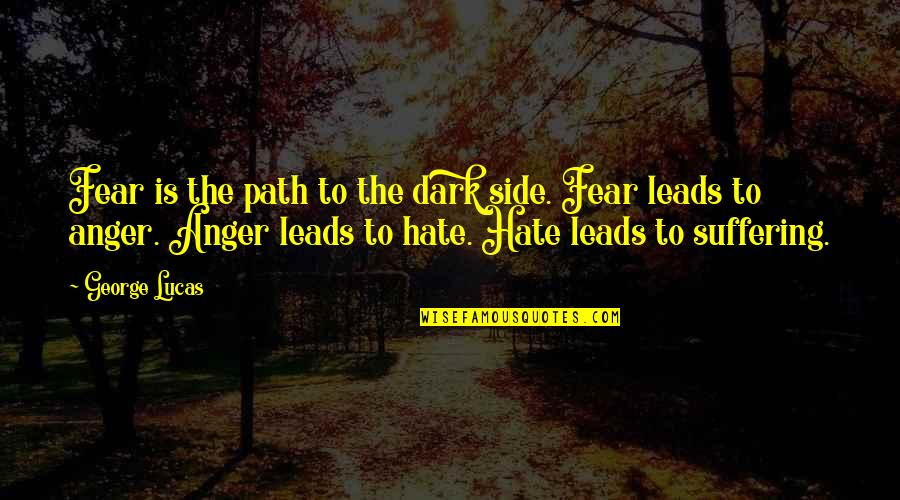 Anger Star Wars Quotes By George Lucas: Fear is the path to the dark side.