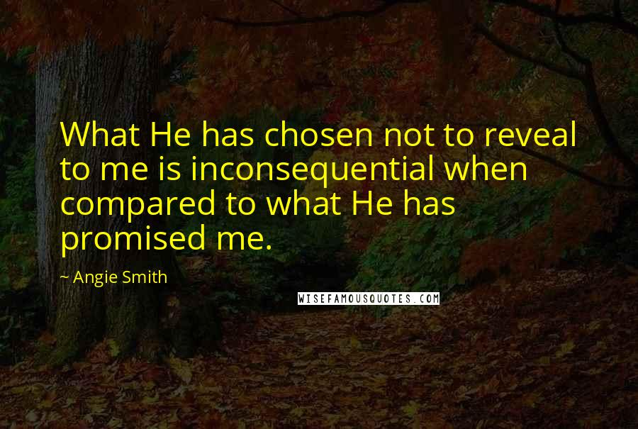 Angie Smith quotes: What He has chosen not to reveal to me is inconsequential when compared to what He has promised me.