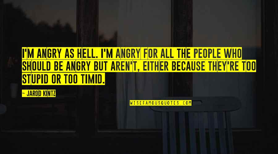 Angry People Quotes By Jarod Kintz: I'm angry as hell. I'm angry for all