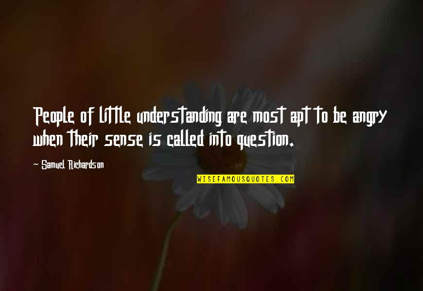 Angry People Quotes By Samuel Richardson: People of little understanding are most apt to