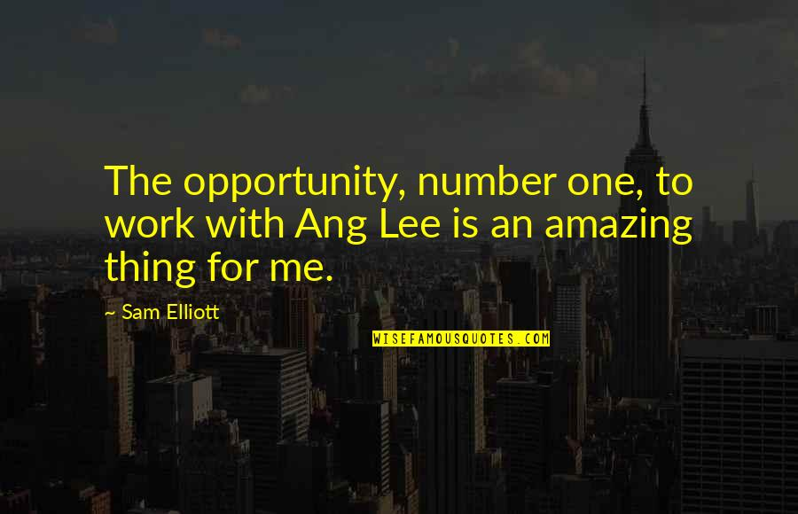 Ang's Quotes By Sam Elliott: The opportunity, number one, to work with Ang