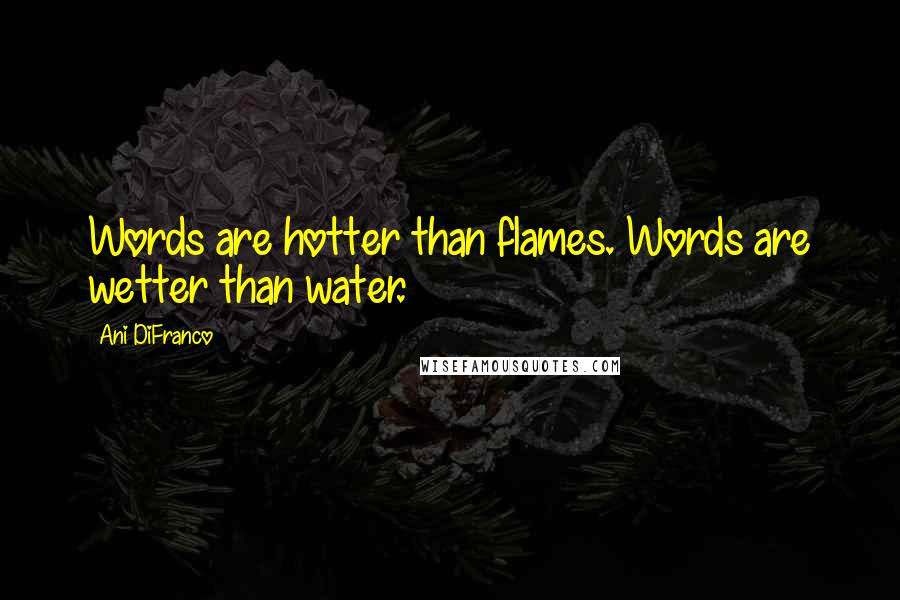 Ani DiFranco quotes: Words are hotter than flames. Words are wetter than water.