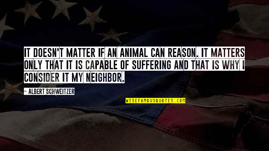 Animal Quotes By Albert Schweitzer: It doesn't matter if an animal can reason.