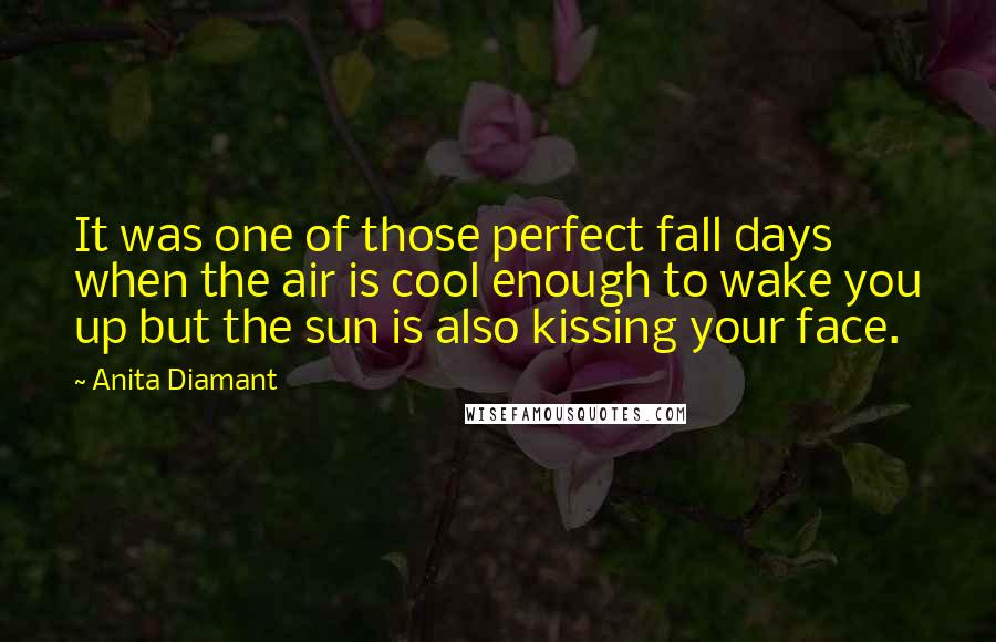 Anita Diamant quotes: It was one of those perfect fall days when the air is cool enough to wake you up but the sun is also kissing your face.