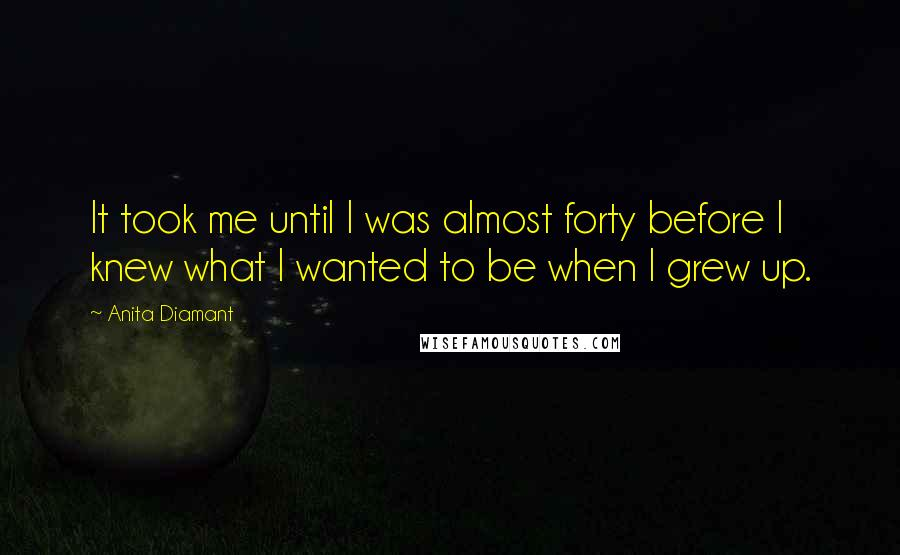 Anita Diamant quotes: It took me until I was almost forty before I knew what I wanted to be when I grew up.