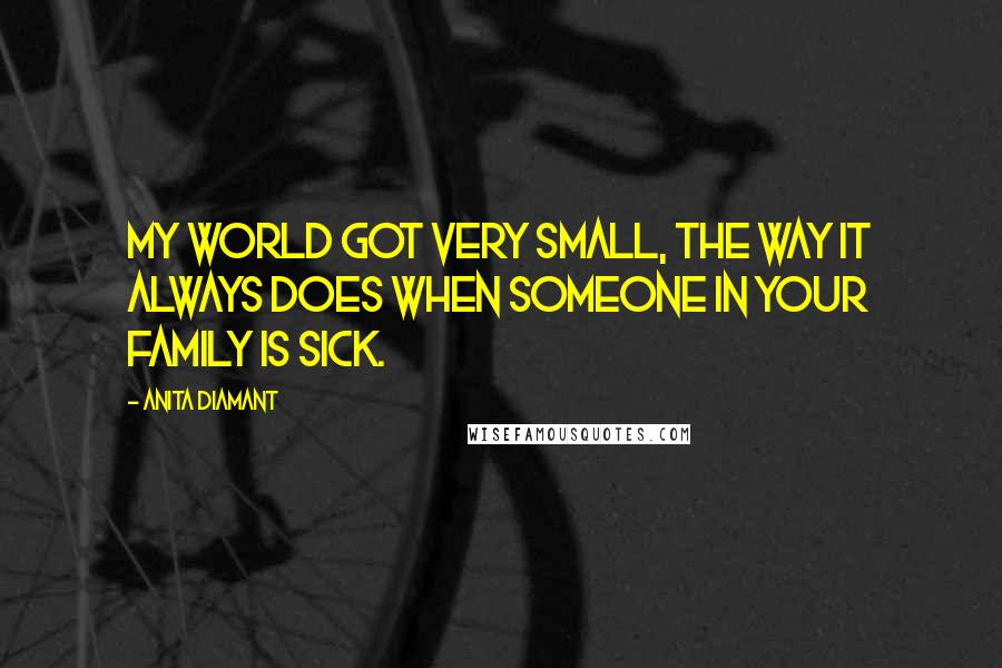Anita Diamant quotes: My world got very small, the way it always does when someone in your family is sick.