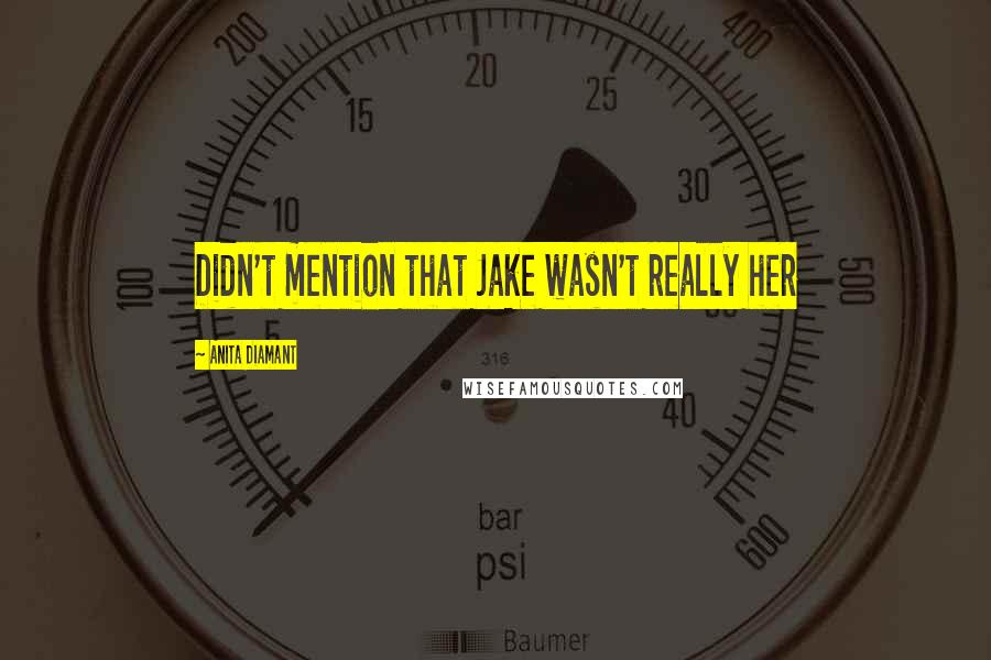 Anita Diamant quotes: Didn't mention that Jake wasn't really her