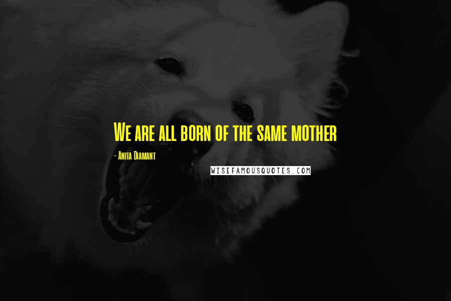 Anita Diamant quotes: We are all born of the same mother