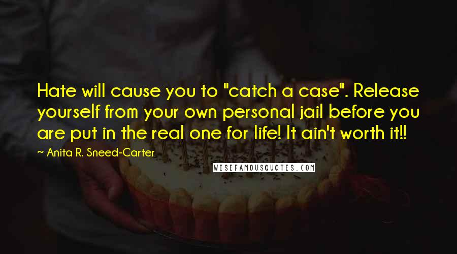 "Anita R. Sneed-Carter quotes: Hate will cause you to ""catch a case"". Release yourself from your own personal jail before you are put in the real one for life! It ain't worth it!!"