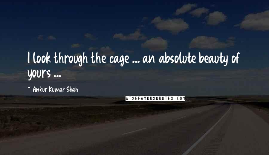 Ankur Kumar Shah quotes: I look through the cage ... an absolute beauty of yours ...