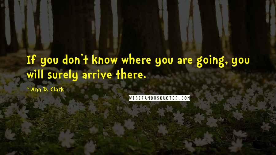 Ann D. Clark quotes: If you don't know where you are going, you will surely arrive there.