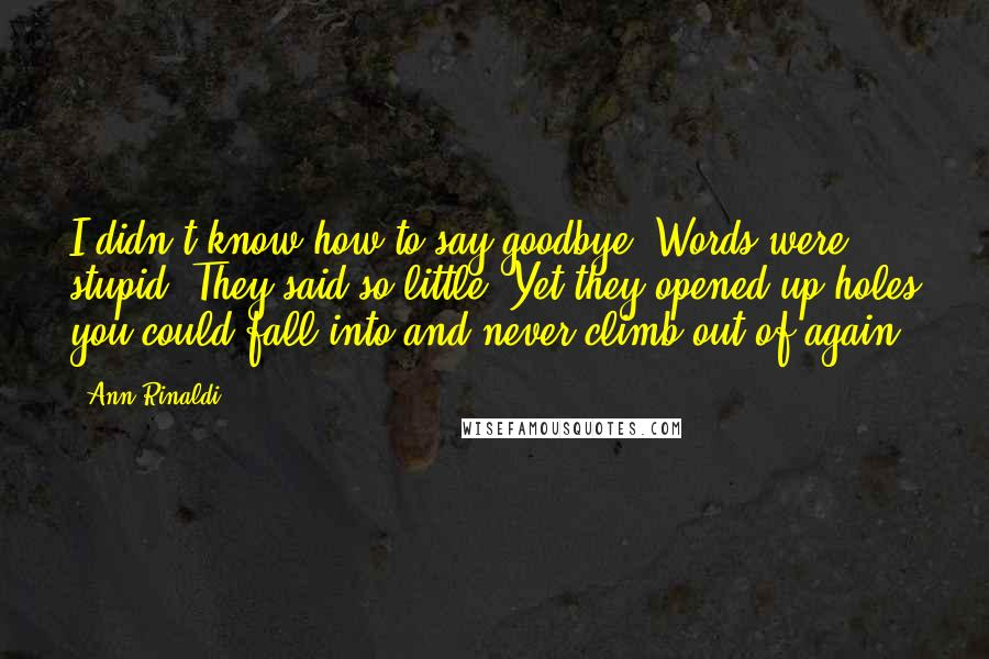 Ann Rinaldi quotes: I didn't know how to say goodbye. Words were stupid. They said so little. Yet they opened up holes you could fall into and never climb out of again.