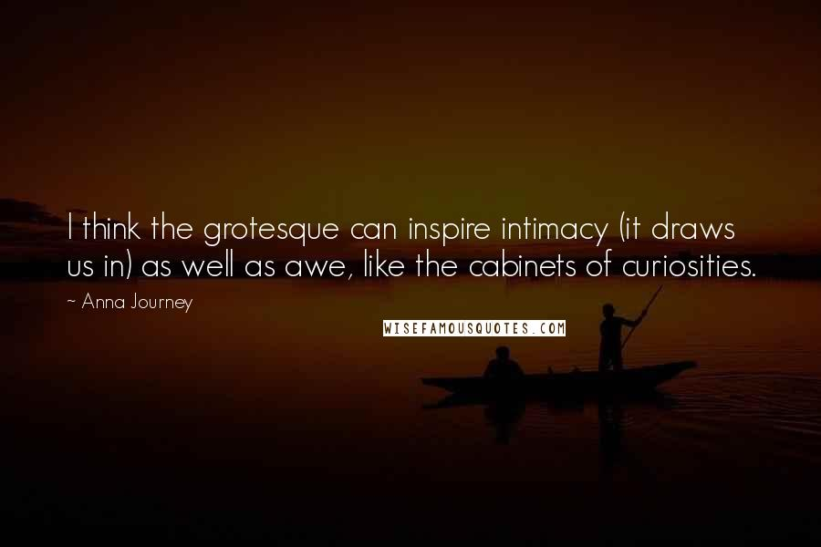 Anna Journey quotes: I think the grotesque can inspire intimacy (it draws us in) as well as awe, like the cabinets of curiosities.
