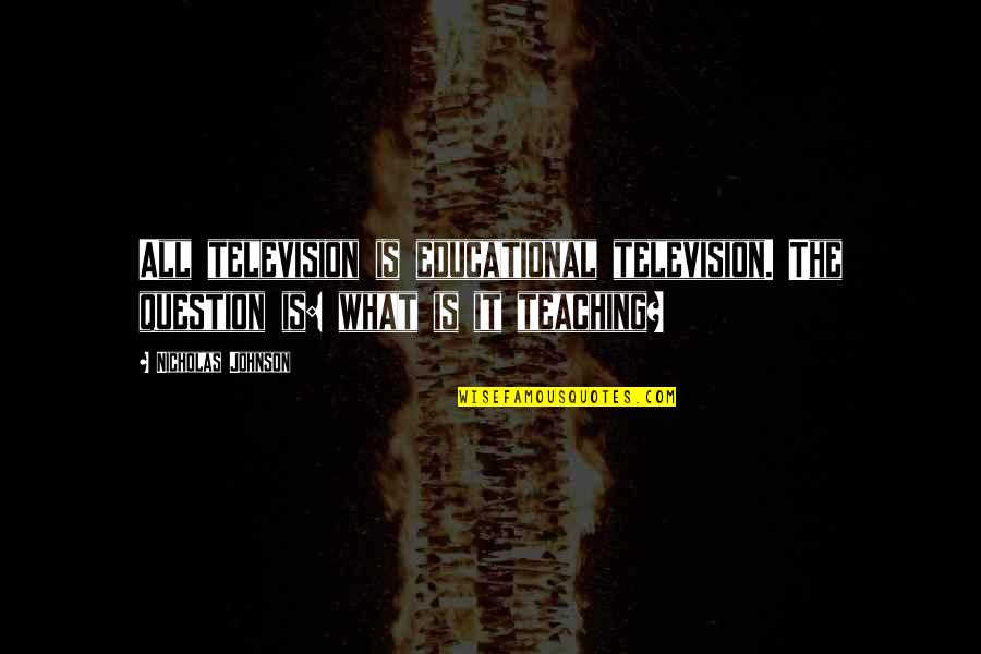 Annabelle Movie Father Perez Quotes By Nicholas Johnson: All television is educational television. The question is: