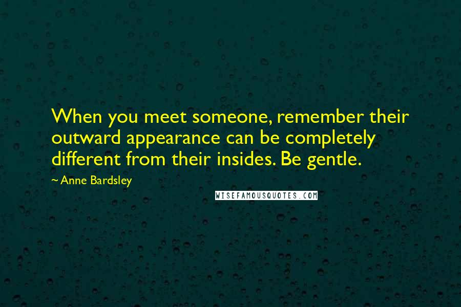 Anne Bardsley quotes: When you meet someone, remember their outward appearance can be completely different from their insides. Be gentle.
