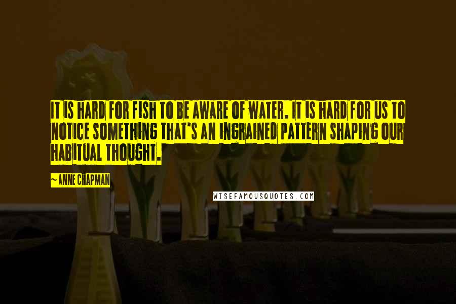 Anne Chapman quotes: It is hard for fish to be aware of water. It is hard for us to notice something that's an ingrained pattern shaping our habitual thought.