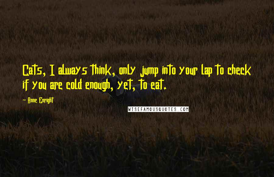 Anne Enright quotes: Cats, I always think, only jump into your lap to check if you are cold enough, yet, to eat.
