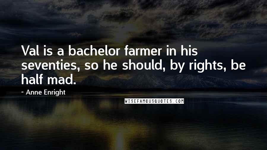Anne Enright quotes: Val is a bachelor farmer in his seventies, so he should, by rights, be half mad.