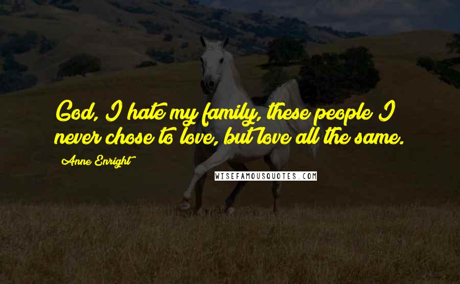 Anne Enright quotes: God, I hate my family, these people I never chose to love, but love all the same.