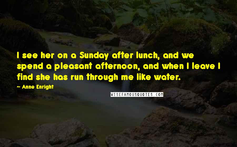 Anne Enright quotes: I see her on a Sunday after lunch, and we spend a pleasant afternoon, and when I leave I find she has run through me like water.