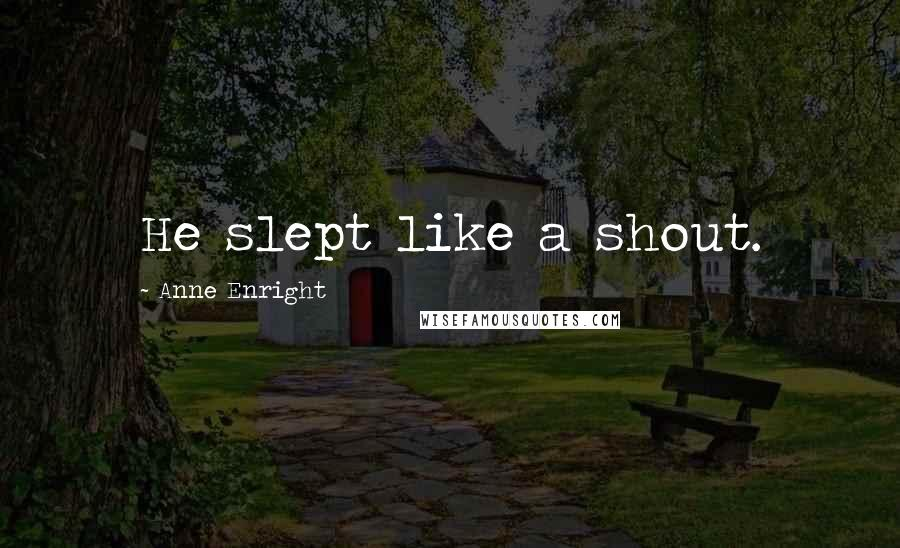 Anne Enright quotes: He slept like a shout.