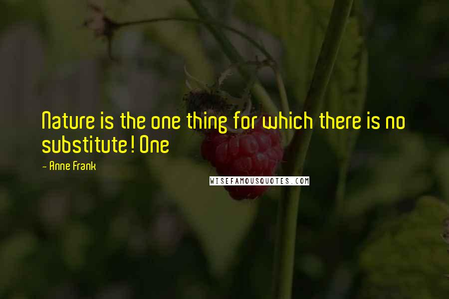Anne Frank quotes: Nature is the one thing for which there is no substitute! One