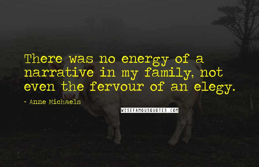 Anne Michaels quotes: There was no energy of a narrative in my family, not even the fervour of an elegy.