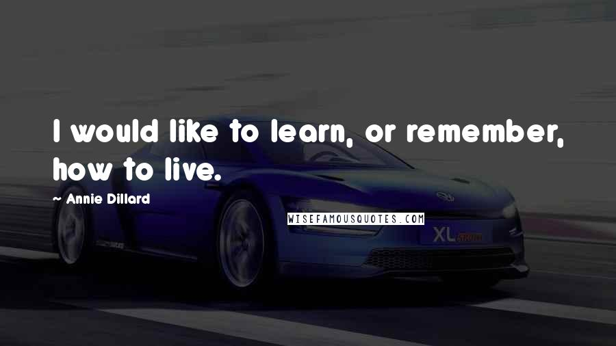 Annie Dillard quotes: I would like to learn, or remember, how to live.